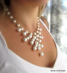 WHITNEY-White Glass Pearl Bib Style Necklace