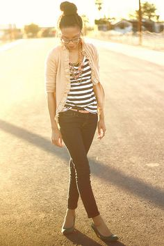 Stripes, skinny jeans, soft cardi and a great necklace