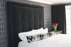 Fabric | Shock Wave in Platinum & Jet | Schumacher Khloe and Lamar Fabrics and Pillows in LA Home | Design To Dreams