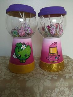 Painted candy jar in Shopkins design. Painted candy jar in Shopkins design. Painted candy jar in Shopkins design. Painted candy jar in Shopkins design. 9th Birthday Parties, 8th Birthday, Birthday Ideas, Terra Cotta, Shopkins Bday, Candy Jars, Candy Dishes, Birthday Decorations, Party Time
