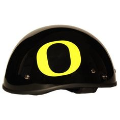 Motorcycle Helmet - University of Oregon Ducks - Half Shell DOT approved Limited Edition Merchandise - Officially Licensed Collegiate Custom Logo Helmets - College Biker Riding Gear - One of a kind UO product -WTD and Ride with U of O Duck Pride by FanRider - Extra Large - Black. Gloss finish with licensed collegiate logos. Advanced lightweight durable shell and fully vented through-out shell. Easy detachable front for easy access.