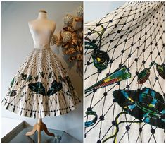 1950's Novelty Print Circle Skirt / Vintage 50's by xtabayvintage, $198.00