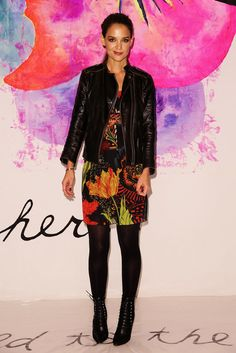 Katie Holmes stepped out for the Desigual show.