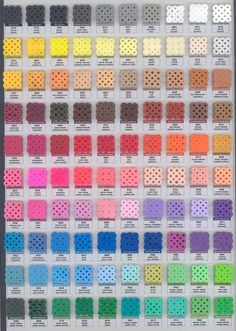 Melty Bead Color Chart - This thorough chart of Perler, Hama, and Nabbi fuse beads is great for figuring out the best colors to use for a project. Perler Bead Designs, Hama Beads Design, Diy Perler Beads, Perler Bead Art, Pearler Beads, Melty Bead Patterns, Pearler Bead Patterns, Perler Patterns, Beading Patterns