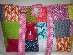 Scrappy Project Tote Bag Craft Yarn Bag by JDCreativeHands on Etsy