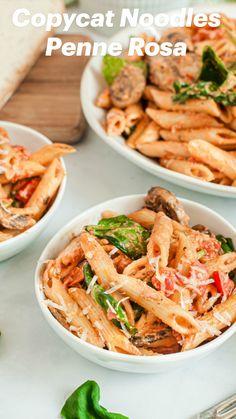 Rosa Sauce, Pasta Dinner Recipes, Chicken Pasta Recipes, Easy Penne Pasta Recipes, Light Pasta Recipes, Pasta Ideas, Vegetarian Recipes, Cooking Recipes, Healthy Recipes