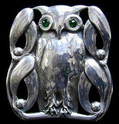 Silver Owl and Mistletoe Skonvirke Brooch, Denmark,  Ca. 1910