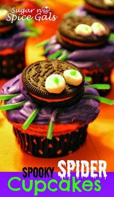 #KatieSheaDesign ♡❤ ❥ Spooky Spider Cupcakes! #halloween #cupcakes #dessert
