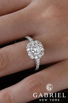 24 Gabriel & Co Engagement Rings Extraordinaire ❤️ gabriel co engagement rings floral halo round cut diamond pave band ER14501 ❤️ See more: http://www.weddingforward.com/gabriel-co-engagement-rings/ #weddingforward #wedding #bride