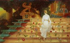 "Psyche in Cupid's garden, by Kinuko Y. Craft -- Illustration from ""Cupid and Psyche"""