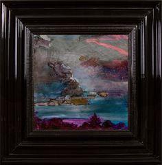 Night Landscape - Encre et Acrylique sous Perspex - 53 x 53 cm