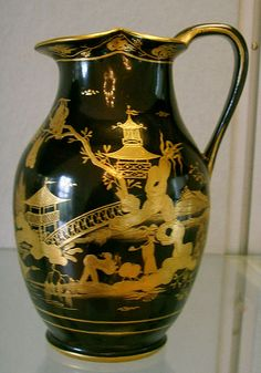 A Vienna porcelain jug, 1799, decorated to imitate another rare Chinese product, lacquerware
