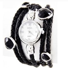 🎉HP🎉Multi Row Watch Stainless Steel Multi-Row Watch with a magnetic Easy Snap Clasp that locks into place to ensure closure.  Color: Black Adjustable Firm Black Leather Cord Stainless Steel  Embellished with hearts Comes in manufacturer's packaging                       💠 Price is Firm unless Bundled 💠                    Host Pick💗 Jewelry