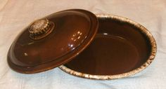 Hull Mirror Brown Drip Covered Casserole Dish