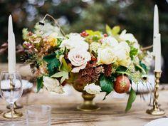 Floral centerpiece and candlesticks