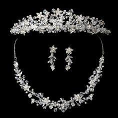 Majestic Crystal Wedding Tiara and Matching Jewelry Set Pearls