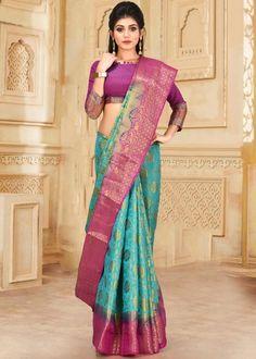#turquoise #kanjivaram #silk #saree #blouse #attractive #design #sareelove #new #arrivals #beautiful #indianwear #ootd #traditional #womenswear #online #shopping Kanjivaram Sarees, Silk Sarees, Sari, Saree Blouse, Indian Wear, Shop Now, Women Wear, Turquoise, Online Shopping