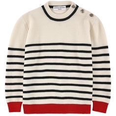 Wool and cashmere knit Pleasant to the touch Crew neck Long sleeves Tightened cuffs and waistband Buttons on the shoulder Logo buttons Stripes Color contrast - $ 244.30