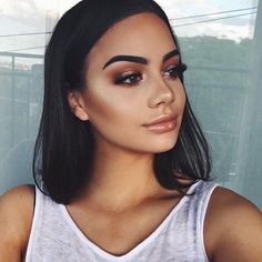 Beautiful @isabella_fiori  BROWS: #Dipbrow in 'ebony'  CONTOUR: Powder contour shades Java and Havana #abhcontourkit  GLOW: That Glow #glowkit  LIPS: Pure Hollywood Liquid Lipstick with Gilded lip gloss on top  #anastasiabeverlyhills #anastasiabrows