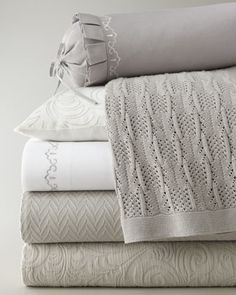 We love designing exclusive collections with SFERRA.  Our newest, Hannah, is at once both luxurious and livable.  It comes in 5 beautiful colors with all the layers coordinated for an instant beautiful bed.