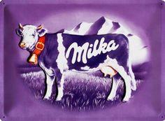 Chocolat Milka : Plaque décorative rétro en métal représentant le Chocolat Milka. Idéal pour créer une ambiance vintage dans votre intérieur ou pour la décoration d'un troquet, d'une épicerie ou unechocolaterie.