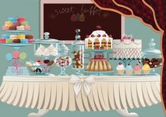 Different cakes on cake-stands and candies in candy jars standing..