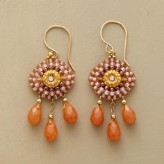 "SUN GODDESS EARRINGS -- In this pair of carnelian sun goddess earrings, drops of carnelian and Japanese Miyuki beads shimmer like morning sun on 14kt goldfilled wires. Handmade in USA by Miguel Ases. 1-3/4""L."
