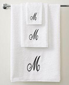 Avanti Bath Towels, Initial Script White and Silver Collection - Bath Towels - Bed & Bath - Macys