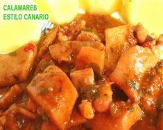 calamares al estilo canario Paella, Spanish Kitchen, Chicken Wings, Meat, Recipes, Meals, Food Recipes, Skincare Routine, Kitchens
