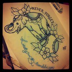 elephant tattoo via lady-b.tumblr.com