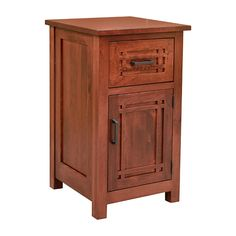 This custom built Bungalow night stand was built of solid Character Cherry Wood for Sylvia from beautiful Cambria California with traditional mullion detailing on drawers and headboard. Drawer is dovetail jointed and fully finished inside and out. Drawer and door is flush mount and size shown is for the size challenged living spaces. You may order in any of our wood choices including Red Oak, Quarter Sawn White Oak, Cherry, Walnut, Elm, Maple or Mahogany. Additionally, color choices are…