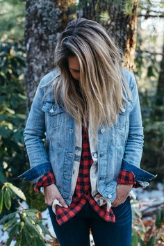 You can never go wrong with a tried and true Winter combo — plaid and denim.