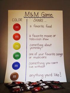 Ice Breaker Activity Materials needed: DIY poster board to serve as a key and individual fun size M&M bags.