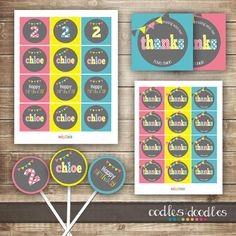 Pink, Turquoise & Yellow Birthday Party Kit / Polka Dot Party /Girl's Birthday Party Printables by Oodles and Doodles, OandD