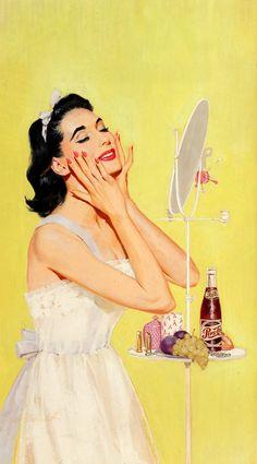 "stfumadison: "" Wayne Blickenstaff Her Morning Regime, Pepsi-Cola advertisement, 1956 "" ❤ Vintage Wonderland ❤ Pin Up Vintage, Images Vintage, Vintage Beauty, Vintage Ads, Pin Up Girls, Vintage Housewife, Retro Aesthetic, Pin Up Art, Retro Art"