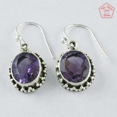4.6 gm Silvex Images - 925 Sterling Silver Amethyst Stone Sparking Earring 4000 #SilvexImagesIndiaPvtLtd #DropDangle