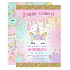Unicorn Slime Birthday Invitation Slime Party - invitations custom unique diy personalize occasions