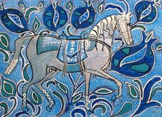 by Melanie Ann Juliette. Pomegranate Stallion. New inspiration from Spanish ceramics and Indian art. Mixed media. http://www.pinterest.com/Meltsintothesea/
