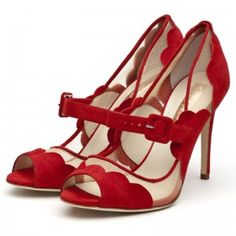 Rupert Sanderson Lintie High Heel Peep Toe Pumps in Red Suede