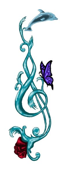 water_treble_clef minus the dolphin - water_treble_clef minus the dolphin You are in the right place about water_treble_clef minus the dol - Paar Tattoos, Leg Tattoos, Flower Tattoos, Arm Tattoo, Tatoos, Tattoos For Women Small, Small Tattoos, Tattoo Musik, Lotus Flower Meaning