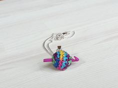 Small jewelry pendant: tiny, ball of yarn with mini hook, gift for crocheter, polymer clay hook
