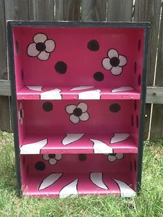 Upcyled Hand Painted Flower Bookshelf