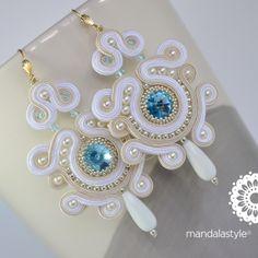 Soutache white bridal earrings with Rivoli Swarovski