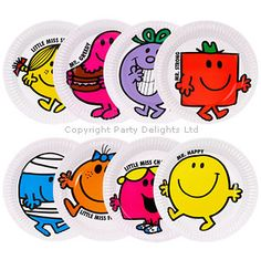 Mr Men Party Plates - look how cute they are Mr Men and Little Miss cakes party kids boys girls birthday cupcake popcake cookies