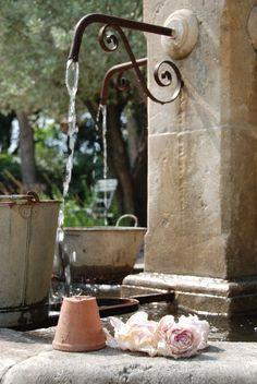 Water sources in Provence, France Dream Garden, Garden Art, Garden Design, Hill Garden, Garden Junk, Stone Fountains, Garden Fountains, Wall Fountains, Fountain Garden