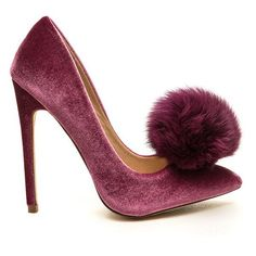 You're Da Pom-Pom Pointy Velvet Pumps ($41) ❤ liked on Polyvore featuring shoes, pumps, pink, pointed-toe pumps, pink high heel pumps, high heeled footwear, stiletto pumps and pink shoes