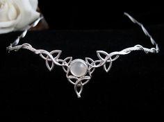 Celtic Wedding Bridal Headpiece Circlet, 10mm Natural White Moonstone, Sterling Silver - SALE on Etsy, $139.95