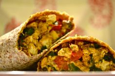 "Skinny ""Cheesy"" Spicy Breakfast Burrito - OH YEAH!     #vegan"