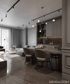 Modern classic in Albania on Behance Apartment Interior, Apartment Design, Kitchen Interior, Modern Classic Interior, Modern Interior Design, Modern Decor, Home Living Room, Living Room Designs, Layout Design