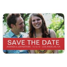 #wedding #red #Photo Save The Date Magnet